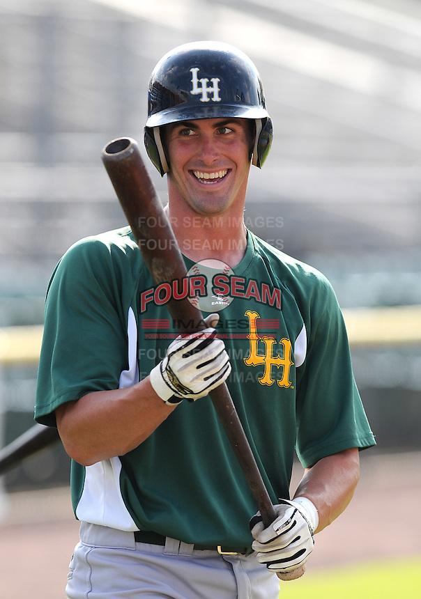 July 16, 2009: Catcher Eric Fryer (34) of the Lynchburg Hillcats, Carolina League affiliate of the Pittsburgh Pirates, before a game at G. Richard Pfitzner Stadium in Woodbridge, Va. Photo by: Tom Priddy/Four Seam Images