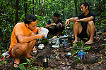 Bornean Clouded Leopard (Neofelis diardi borneensis) researchers Nuh Engoh, Rizam Bakiri, and Hildey Baas making food at campsite, Tawau Hills Park, Sabah, Borneo, Malaysia