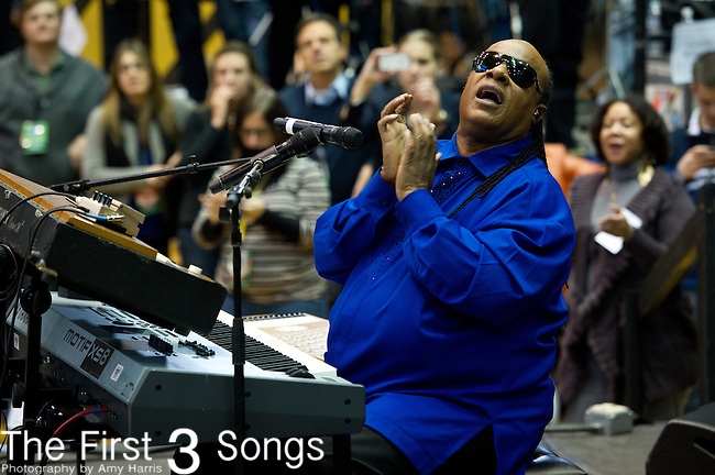 Stevie Wonder performs during a campaign rally at Fifth Third Arena on the campus of the University of Cincinnati for U.S. President Barack Obama on November 4, 2012 in Cincinnati, Ohio.