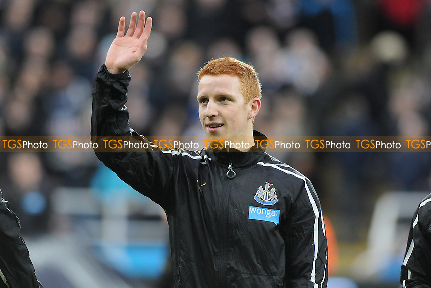 Jack Colback of Newcastle United waves to his family before kick off - Newcastle United vs Sunderland AFC - Barclays Premier League Football at St James Park, Newcastle upon Tyne - 21/12/14 - MANDATORY CREDIT: Steven White/TGSPHOTO - Self billing applies where appropriate - contact@tgsphoto.co.uk - NO UNPAID USE