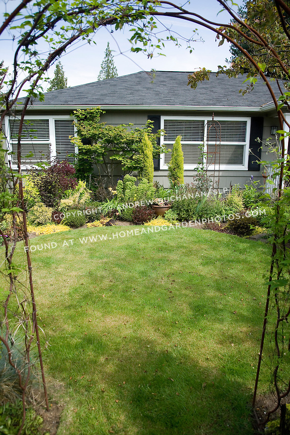 a small, suburban garden north of Seattle forsakes labor-intensive and water thirsty annual and perennial flowers for a striking mix of foliage plants of all colors and textures