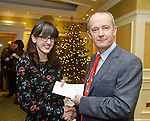Clare Champion MD John Galvin presenting Rebecca Murphy of The Bakehouse with third prize at the announcement of the winners of the annual Clare Champion Christmas Shop Window Display competition in the Old Ground hotel, Ennis. Photograph by John Kelly.