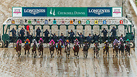 LOUISVILLE, KENTUCKY - MAY 05:  The field breaks from the gate at the start of the Longines Kentucky Oaks  at Churchill Downs on May 5, 2017 in Louisville, Kentucky. Abel Tasman #13, ridden by Mike Smith, won the race.(Photo by Jesse Caris/Eclipse Sportswire/Getty Images)