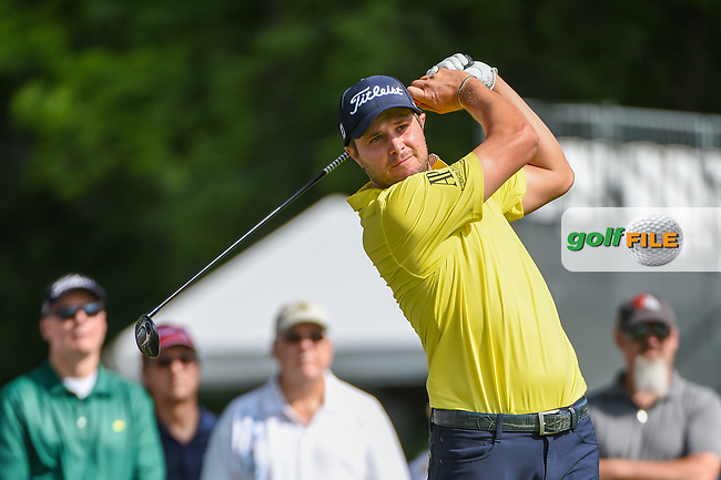 Peter Uihlein (USA) watches his tee shot on 3 during round 3 of the 2019 Charles Schwab Challenge, Colonial Country Club, Ft. Worth, Texas,  USA. 5/25/2019.<br /> Picture: Golffile   Ken Murray<br /> <br /> All photo usage must carry mandatory copyright credit (© Golffile   Ken Murray)