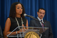 August 7, 2013  (Washington, DC) Janaye Ingram, D.C. Bureau Chief for the National Action Network, speaks during a news conference announcing plans for the 50th anniversary March on Washington as Mayor Vincent Gray looks on.  (Photo by Don Baxter/Media Images International)