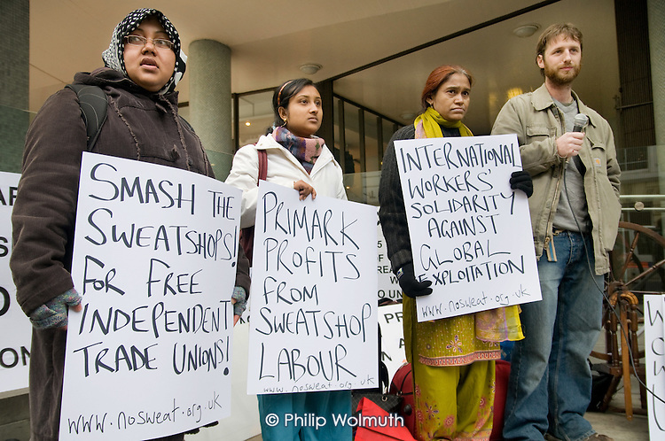 Shahida Sarkar, President of the National Garment Workers Federation of Bangladesh, co-worker Shuma Sarkar and members of No Sweat picket Primark AGM being held at the TUC's Congress House, London.