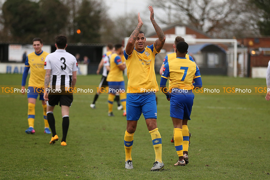 Leon McKenzie of Hornchurch celebrates completing his hat-trick during Heybridge Swifts vs AFC Hornchurch, Ryman League Division 1 North Football at The Texo Stadium, Scraley Road on 25th February 2017