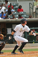 Charleston Riverdogs left fielder Ben Gamel #3 at bat during a game against the Savannah Sand Gnats at Joseph P. Riley Jr. Park on May 16, 2012 in Charleston, South Carolina. Charleston defeated Savannah by the score of 14-5. (Robert Gurganus/Four Seam Images)