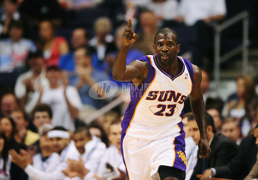 Apr. 11, 2010; Phoenix, AZ, USA; Phoenix Suns guard Jason Richardson celebrates a three point shot against the Houston Rockets at the US Airways Center. Mandatory Credit: Mark J. Rebilas-