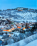 USA, Utah, scenic view of Park City Ski Town and Resort at Dusk