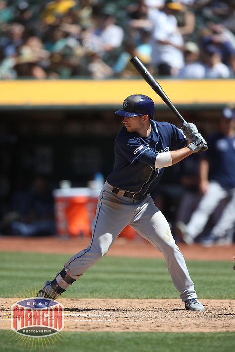 OAKLAND, CA - JUNE 22:  Brandon Lowe #8 of the Tampa Bay Rays bats against the Oakland Athletics during the game at the Oakland Coliseum on Saturday, June 22, 2019 in Oakland, California. (Photo by Brad Mangin)