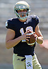 April 21, 2012:  Notre Dame Fighting Irish quarterback Andrew Hendrix (12) in first quarter action of the Notre Dame Blue-Gold Spring game at Notre Dame Stadium in South Bend, Indiana.  The Defense topped the Offense by a score of 42-31.