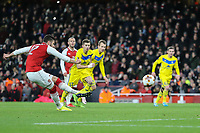 Olivier Giroud of Arsenal takes a penalty and is asked to re-take it during the UEFA Europa League match between Arsenal and FC BATE Borisov  at the Emirates Stadium, London, England on 7 December 2017. Photo by David Horn.