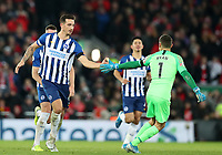 30th November 2019; Anfield, Liverpool, Merseyside, England; English Premier League Football, Liverpool versus Brighton and Hove Albion; Lewis Dunk of Brighton and Hove Albion is congratulated after scoring from a free kick by Brighton and Hove Albion goalkeeper Matthew Ryan - Strictly Editorial Use Only. No use with unauthorized audio, video, data, fixture lists, club/league logos or 'live' services. Online in-match use limited to 120 images, no video emulation. No use in betting, games or single club/league/player publications