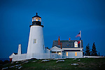Pemaquid Point Lighthouse at twilight in Bristol, ME, USA