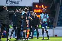 Injured Anthony Stewart of Wycombe Wanderers is replaced by Will De Havilland of Wycombe Wanderers during the Sky Bet League 2 match between Wycombe Wanderers and Yeovil Town at Adams Park, High Wycombe, England on 14 January 2017. Photo by Andy Rowland / PRiME Media Images.