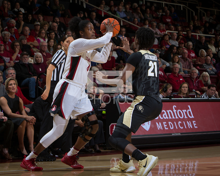 Stanford, CA - January 24, 2020: Nadia Fingall at Maples Pavilion. The Stanford Cardinal defeated the Colorado Buffaloes in overtime, 76-68.
