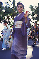 Women in traditional Japanese kimono at the Pacific Asian Parade in Waikiki, Hawaii