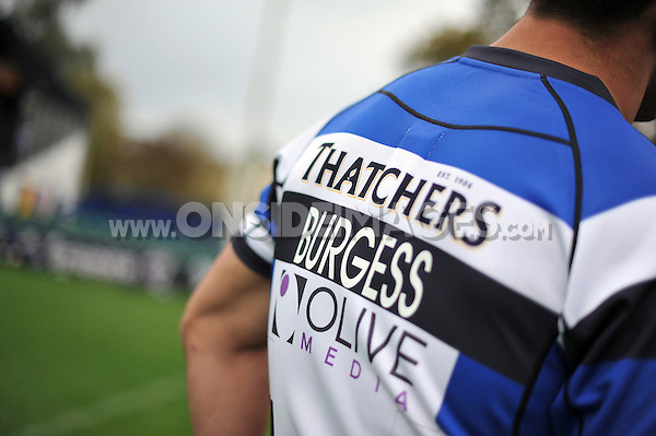 A general view of the shirt of Bath Rugby's new signing Sam Burgess during the media session. Bath Rugby Photocall on October 30, 2014 at the Recreation Ground in Bath, England. Photo by: Patrick Khachfe / Onside Images