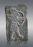 9th century BC stone Neo-Hittite/ Aramaean Orthostats from Palace Temple of the Aramaean city of Tell Halaf, ancient Guzana, in northeastern Syria close to the Turkish border. The Orthostats from the Palace of King Kapara are in a Neo Hittite style and depict an Archer. Louvre Museum, Paris, inv AO11072
