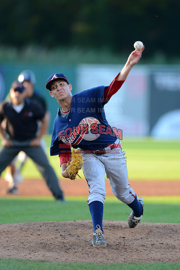 Pitcher Robert Tucker (30) of Rome High School in Rome, Georgia playing for the Atlanta Braves scout team during the East Coast Pro Showcase on August 1, 2013 at NBT Bank Stadium in Syracuse, New York.  (Mike Janes/Four Seam Images)