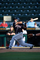 Jupiter Hammerheads first baseman Eric Gutierrez (13) hits a home run during the second game of a doubleheader against the Bradenton Marauders on May 27, 2018 at LECOM Park in Bradenton, Florida.  Jupiter defeated Bradenton 4-1.  (Mike Janes/Four Seam Images)