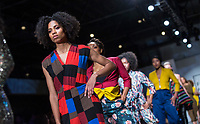 NWA Democrat-Gazette/BEN GOFF @NWABENGOFF<br /> Models walk the runway Saturday, April 6, 2019, during the Northwest Arkansas Fashion Week Spring 2019 avant garde runway show at Record in Bentonville.