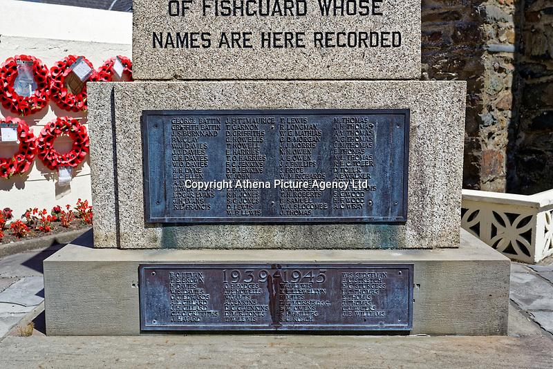 The War Memorial in Fishguard, Pembrokeshire, Wales, UK