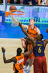 Montakit Fuenlabrada's Rolands Smits  and FC Barcelona Lassa's Joey Dorsey during the match of Endesa ACB League between Fuenlabrada Montakit and FC Barcelona Lassa at Fernando Martin Stadium in fuelnabrada,  Madrid, Spain. October 30, 2016. (ALTERPHOTOS/Rodrigo Jimenez)