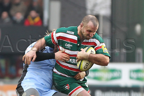04.02.2012  Rugby Union  Leicester  England Tigers hooker George Chuter in action during the LV Cup Rugby Union match between Leicester Tigers and Newcastle Falcons played at the Welford Road Stadium, Leicester, England, UK.