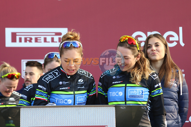 Team Tibco-Silicon Valley at sign on before the Strade Bianche Women Elite 2019 running 133km from Siena to Siena, held over the white gravel roads of Tuscany, Italy. 9th March 2019.<br /> Picture: Seamus Yore | Cyclefile<br /> <br /> <br /> All photos usage must carry mandatory copyright credit (© Cyclefile | Seamus Yore)