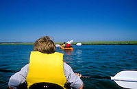 Canoeing in the marsh along the Cape Cod National Seashore, Eastham, Cape Cod