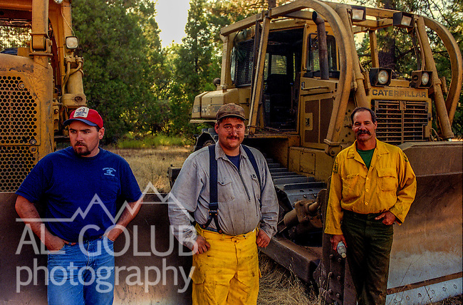August 25, 1999 Buck Meadows, California -- Pilot Fire –  Dozer drivers wait for assignments.  The Pilot Fire burned 3,300 acres in the Tuolumne River Canyon near Yosemite National Park. The fire burned across the Hetch Hetchy power lines.