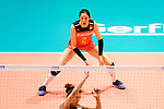 Ting Zhu of China in action during the FIVB Volleyball Nations League Hong Kong match between China and Argentina on May 29, 2018 in Hong Kong, Hong Kong. Photo by Marcio Rodrigo Machado / Power Sport Images