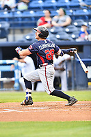 Rome Braves catcher Brett Cumberland (28) swings at a pitch during a game against the Asheville Tourists at McCormick Field on May 22, 2017 in Asheville, North Carolina. The Braves defeated the Tourists 7-3. (Tony Farlow/Four Seam Images)