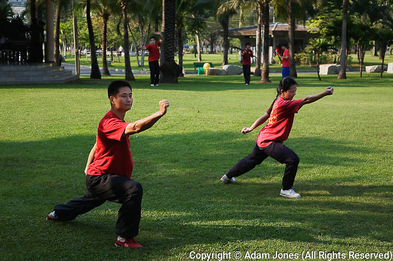 Thai man and woman practicing martial arts in park, Bangkok, Thailand