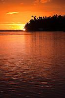 Sunset over the lagoon at Teahupoo, Tahiti, Sunday May 3 2009. Photo: joliphotos.com