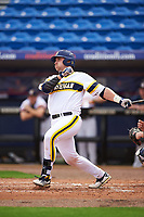 Michigan Wolverines catcher Harrison Wenson (7) at bat during the first game of a doubleheader against the Canisius College Golden Griffins on June 20, 2016 at Tradition Field in St. Lucie, Florida.  Michigan defeated Canisius 6-2.  (Mike Janes/Four Seam Images)