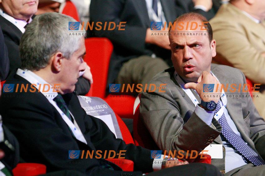 Pier Ferdinando Casini e Angelino Alfano.Roma 21/06/2012 Auditorium della Conciliazione. Assemblea Annuale di Confcommercio 2012..Photo Samantha Zucchi Insidefoto