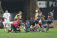 Rhys Webb of Ospreys is seen to by physios after injuring his knee during the Champions Cup Round 1 match between Ospreys and Clermont at The Liberty Stadium, Swansea, Wales, UK. Sunday 15 October 2017