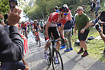 Tim Wellens (BEL) Lotto-Soudal climbs the brutal 30% Muro di Surmano during the 112th edition of Il Lombardia 2018, the final monument of the season running 241km from Bergamo to Como, Lombardy, Italy. 13th October 2018.<br /> Picture: Eoin Clarke | Cyclefile<br /> <br /> <br /> All photos usage must carry mandatory copyright credit (© Cyclefile | Eoin Clarke)