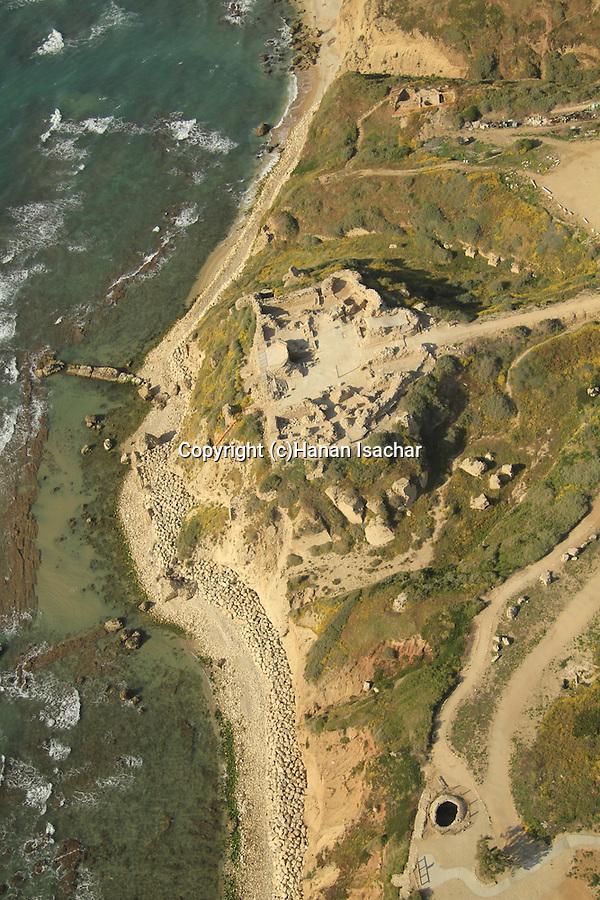 Israel, Sharon region, ruins of the Crusader fortress Arsur at Apollonia National Park