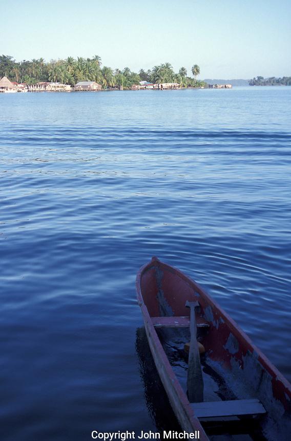 Dugout canoe in the town of Bocas del Toro, Isla Colon, Panama