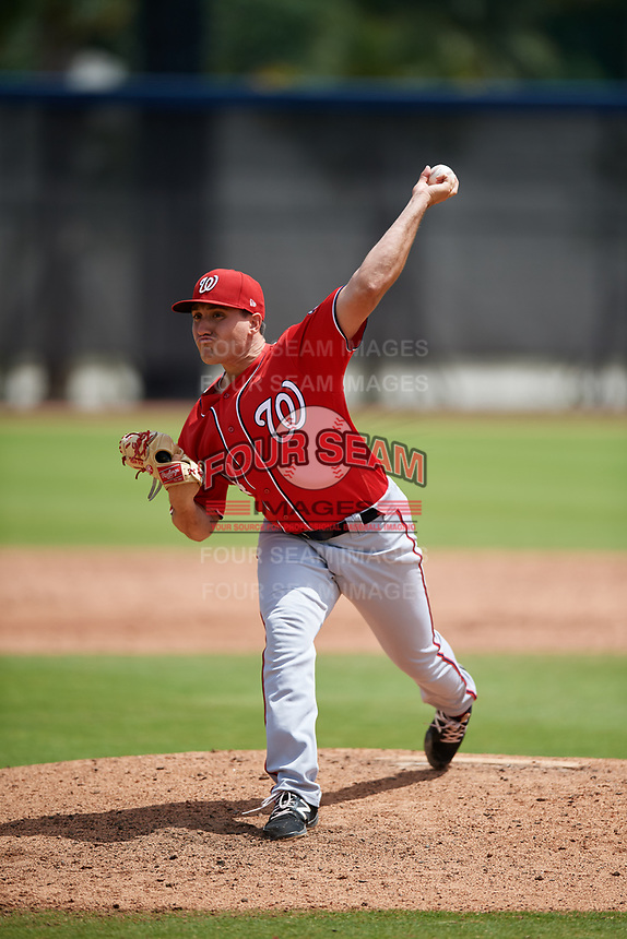 Washington Nationals pitcher Nick Raquet (44) during a Minor League Spring Training game against the Miami Marlins on March 28, 2018 at FITTEAM Ballpark of the Palm Beaches in West Palm Beach, Florida.  (Mike Janes/Four Seam Images)