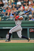 Center fielder Ray-Patrick Didder (11) of the Rome Braves bats in a game against the Greenville Drive on Thursday, July 28, 2016, at Fluor Field at the West End in Greenville, South Carolina. Greenville won, 5-4. (Tom Priddy/Four Seam Images)