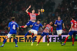 Nikola Kalinic of Atletico de Madrid (2nd L) jumps up to fight for the ball as teammate Gelson Martins (3rd R) looks on during the La Liga 2018-19 match between Atletico de Madrid and Athletic de Bilbao at Wanda Metropolitano, on November 10 2018 in Madrid, Spain. Photo by Diego Gouto / Power Sport Images