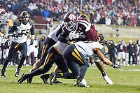 Missouri safety Braylon Webb (9) prevents Texas A&M tight end Cameron Clear (85) from converting on fourth and two yards during fourth quarter of an NCAA football game, Saturday, November 15, 2014 in College Station, Tex. Missouri defeated Texas A&M 34-27. (Mo Khursheed/TFV Media via AP Images)