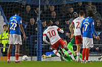 Freddie Ladapo of Rotherham United scores past Craig MacGillivray of Portsmouth to make the score 1-1 k during Portsmouth vs Rotherham United, Sky Bet EFL League 1 Football at Fratton Park on 26th November 2019