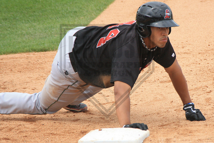 APPLETON - JULY 2010: Brian Cavazos-Galvez of the Great Lakes Loons, Class-A affiliate of the Los Angeles Dodgers, during a game on July 19, 2010 at Fox Cities Stadium in Appleton, Wisconsin. (Photo by Brad Krause)