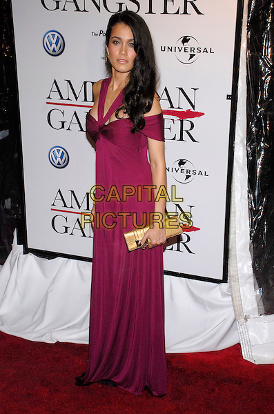 "LYMARI NADAL.The New York premiere of ""American Gangster"" held at the Apollo Theater, New York, New York, USA,.19 October 2007..full length purple magenta dress hand on hip clutch bag.CAP/ADM/BL.©Bill Lyons/AdMedia/Capital Pictures. *** Local Caption ***"